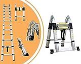 Leogreen - Scala Multiuso, Scala Telescopica, 3,8 Metri, Barra stabilizzatrice, EN 131, Standard/Certificazione: EN131, Numero di pioli: 12