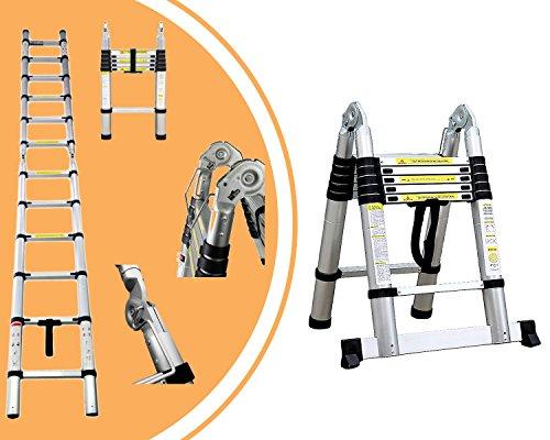 Leogreen - Mehrzweckleiter, Teleskopleiter, 3,8 Meter, Stabilisierungsstange, EN 131, Standard/Zertifizierung: EN131, Sprossenanzahl: 12