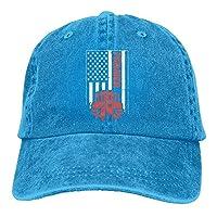 SunRuMo Unisex Tractor & American Flag Vintage Jeans Baseball Cap Classic Cotton Dad Hat Adjustable Plain Cap