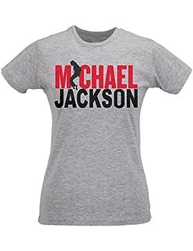 Camiseta Mujer Slim Michael J Ackson Bicolor Print - Maglietta 100% algodòn ring spun LaMAGLIERIA