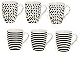 Tassen 6er Set, Henkeltassen, Henkelbecher aus Porzellan weiß/schwarz Punkte/Streifen 6