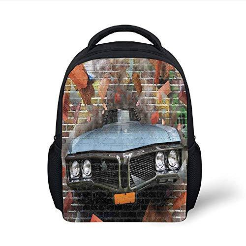 Kids School Backpack Cars,Graffiti Featured Graphic of Crashing Automobile on A Brick Wall Underground Street Style,Multi Plain Bookbag Travel Daypack - Graphics Brick Wall