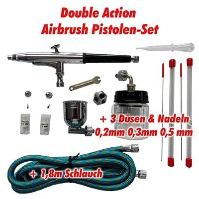Agora-Tec AT- Airbrush Pistole Kit AT-AK-02 mit 1,8 m Schlauch und 3 verschiedenen Düsen und Nadeln (0,2 mm 0,3mm 0,5 mm) von Agora-Tec bei TapetenShop