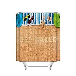Charmhome summer beach shower curtain seashell starfish for Bathroom accessories for men