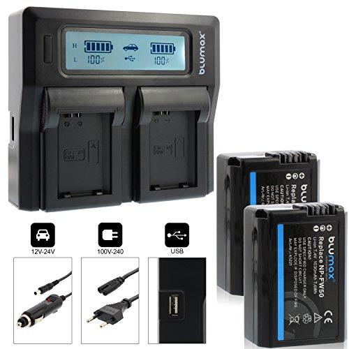 Blumax 2X Akku ersetzt Sony NP-FW50 1030mAh + Doppel-Ladegerät Dual | kompatibel mit Sony Alpha7 / 7ii / 6500/6300 / 6000/5100 NEX-7 NEX-6 NEX-F3 NEX-3 Nex-5 NEX-5N NEX-5T SLT A55V A33 A35 A37 1030mah-batterie