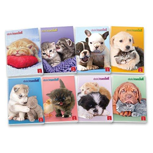 Pigna dolci cuccioli 02254371f, quaderno formato a4, rigatura 1f, quadretti 1 cm con margine per 1° elementare, carta 80g/mq, pacco da 10 pezzi
