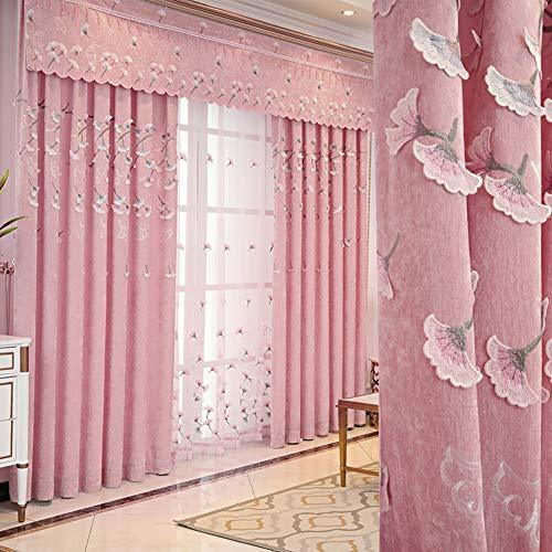 Nileco Stickerei Verdunkelungsvorhangpaneele, Vorhänge Fenster-vorhänge Polyester-gewebe Blackout Valance Wohnzimmer Schlafzimmer 1 Pc-u W200*h270cm(79 * 106inch) -
