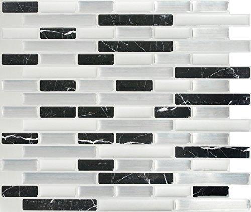 Peel and Impress Fliesen-Rückseite, Glas, rechteckig, abziehen und aufkleben, Urban 4 Tiles Midnight Marble