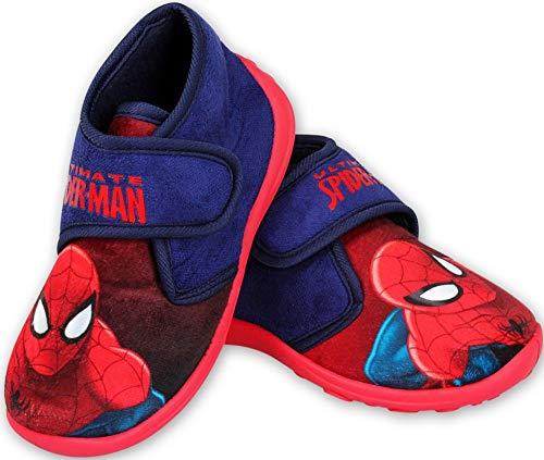Spiderman Jungen Hausschuhe hoch geschlossen Klettverschluss rutschfeste Sohle 24 25 26 27 28 29 (25 EU)