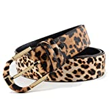 Nanxson(TM modern Damen breite dekorativ Leder Gürtel Leopardenmuster PDW0031 (Gold Schnall)
