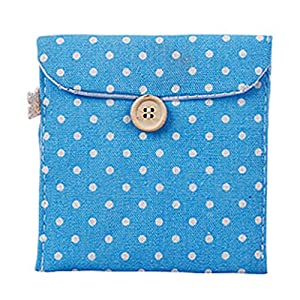 MOMEY Cute Polka Dot Cotton Sanitary Napkins Bag Menstrual Cup Pouch Nursing Pad Holder Bag Button Bag