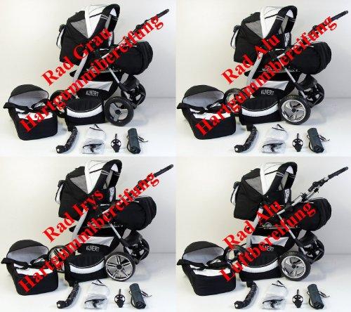 3 in 1 Kombikinderwagen Komplettset VIP – inkl. Kinderwagen, Babyschale und Sportwagen Aufsatz – 2. ALU Luft Bereifung zum aufpumpen – 59.Schwarz-Gruen