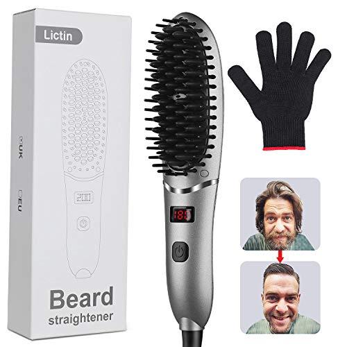 Licitn Plancha de Pelo Barba- Alisador Barba Hombres, Peine de Peinado Rápido Profesional para Cabello Barba
