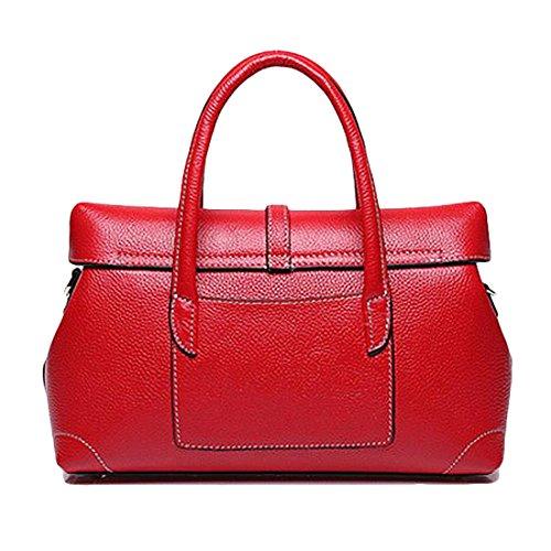 jieway di pelle per donna Custodia di pelle borsa sportiva per Donna Boston Borsa Borsa di spalla Rosso