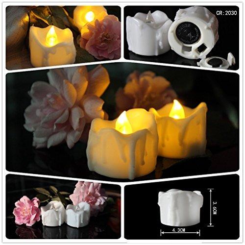 Preisvergleich Produktbild A Point gelb flackerndes Timing Funktion & #-; Flammenlose LED Teelichter Kerzen, Wachs tropfte batteriebetrieben Elektronische Kerzen für Hochzeit Party