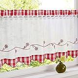 HongYa Bestickte Scheibengardine Halbtransparente Küche Kleinfenster Gardine mit Karo-Muster H/B 60/90 cm Rot