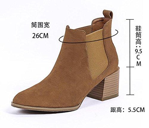 Khskx-the nouvelles Bottes d'hiver avec épais solide ronde femelle et élastique et nus Bottes Chaussures marron