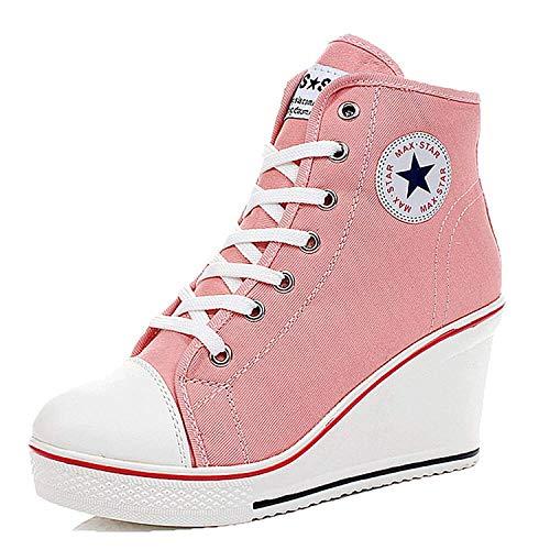 Qimaoo Canvas Sneaker Donna Scarpe con Tacco con Zeppa per Casual Nero Rosa Rosso Bianco