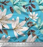 Soimoi Blau Satin Seide Stoff Blätter & Wild Blume Drucken