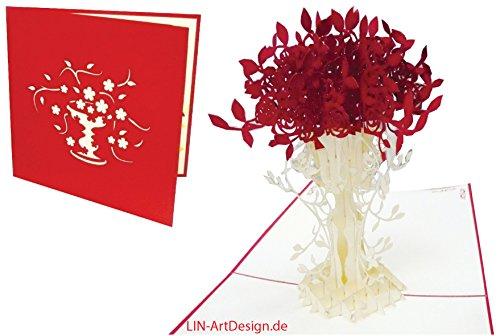 LIN-POP UP Grußkarten Dankeskarten Gute Besserung Geburtstagskarten Muttertagskarten Glückwunschkarten Blumenkarten, Rosen