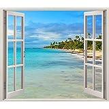 Pegatinas 3D Vinilo ventana Varias Medidas 100x90cm | Adhesivo Incluido | Decoracion Habitación |Playa, Del Caribe con Palmeras | Multicolor | Diseño Elegante |