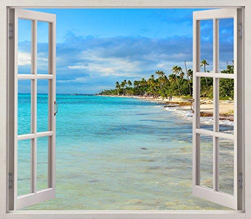 Pegatinas 3D Vinilo Ventana Varias Medidas 150x130cm | Adhesivo Incluido | Decoracion Habitación |Playa, del Caribe con Palmeras Diseño Elegante |