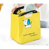 Preisvergleich für Yudanwin Leinwand-Lunch-Tasche Süßes Tier Takeaway Insulation Bag Bento Lunch Bag (Gelb)