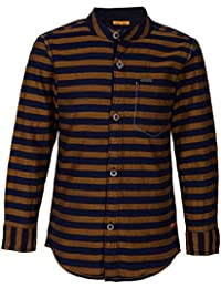 Super Young Shirt for Boys - Black and Gold Shirts - Striped Shrit - Cotton Material - Stylish Shirt for Boys - with Front Pocket