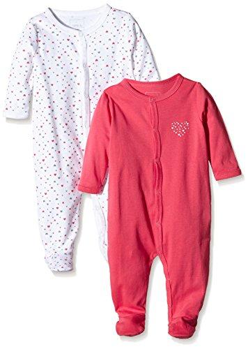 NAME IT Baby-Mädchen Schlafstrampler NITNIGHTSUIT W/F NB G NOOS, 2er Pack, Gr. 56, Mehrfarbig (Rouge Red)