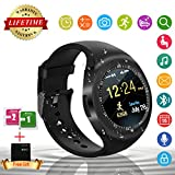 Smart Watch Android, Bluetooth Smart Watch Elegante Sport Fitness Activity Tracker Touch Screen Supporto SIM TF Card Cellulare Smartphone Orologio Intelligente Digitale iofrequenzimetro da Polso Wrist Watch Band Braccialetto Smartwatch per Samsung Huawei Apple iPhone Android per Uomo Donna Bambini (Nero)