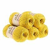 maDDma ® 5 x 100g Strickgarn Jana Häkelgarn Strickwolle Häkelwolle, Verschiedene Farben, Farbe:Gelb