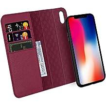 Custodia iPhone X, ZOVER Staccabile Pelle Portafoglio Custodia Con la funzione Auto Sleep / Wake, Supporta la ricarica wireless, Supporto magnetico per auto, Chiusura Magnetica - Vino Rosso