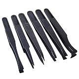 MASUNN 6X Schwarz Anti-Statische Kunststoff-Pinzette Hitzebeständige Reparatur-Tool