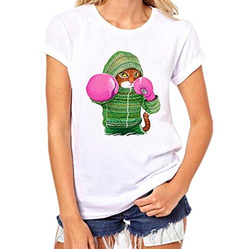 rauen Mädchen Plus Size Animal Print Tees Shirt Kurzarm T-Shirt Bluse Tops (2XL, Weiß) (Plus Size Kostüme Tragen)