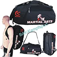 "BAY® XL Sporttasche ""Martial Arts"" im Rucksack Syte shoulder bag Kickboxen Kick-Boxen, Kampfsport, Budo, MMA, Thaiboxen Muay Thai, Tasche, Trainingstasche, Kickboxtasche Bag, schwarz, Rucksack Rucksacktasche Kombietasche Kampfsporttasche Judo Karate Cross Body Bag Kung Fu Ju-Jutsu Taekwondo UFC Freefight Fighter Aikido"