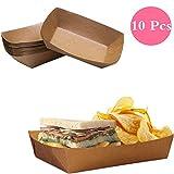 10 bandejas de papel para alimentos desechables de Dylandy, cajas para cuencos, barcos, para cocina, fiesta, alimentos, aperitivos (grande)