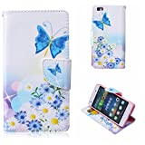 Huawei P8 Lite Case, BoxTii� Flip Wallet Slim Case + Free Tempered Glass Screen Protector, Premium PU Leather Case Cover with Magnetic Clip Card Slots and Stand, Elegant Anti-Scratch Shock-Absorption Folding Folio Flip Wallet Case for Samsung Galaxy Huawei P8 Lite (#3 Butterfly)