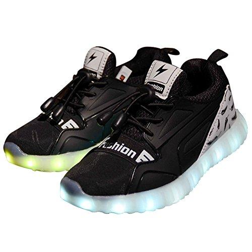 31 Schwarz Led (Licy Life-UK Unisex Jung Jungs Mädchen Studenten LED Schuhe Leuchtschuhe Verbesserung 4 Farbe Blinkende Leuchtende Light Up Sneakers(Größe 28-37) (31EU, Schwarz))