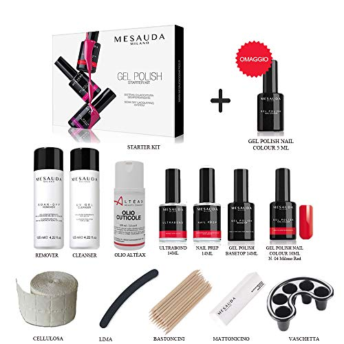 MESAUDA STARTER KIT GEL POLISH 14 ML SMALTO SEMIPERMANENTE UNGHIE +ACCESSORI+ OMAGGIO OLIO ALTÉAX E SMALTO DA 5ml