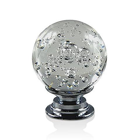 Ya Jin 6x 30mm Bubbles Kristall Glas Tür Knöpfe Schublade Schrank Pull Griff mit Schraube weiß