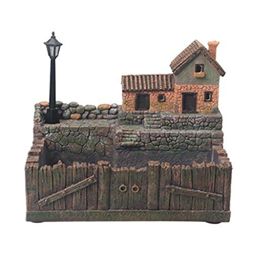 MagiDeal Micro Landschaft Künstliche Blumen Sukkulenten Topf, Haus Design - Toskana Hütte