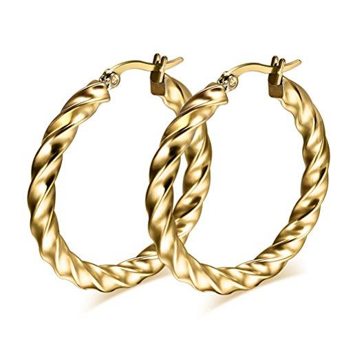 vnox-mujeres-ninas-de-acero-inoxidable-dos-tonos-twist-redondo-pendientes-de-oro
