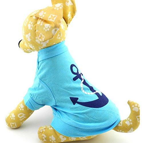 zunea Kleiner Hund Kleidung für Stecker Sommer Anker Muster-Shirt Jumper Blau