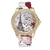 Suitray Uhren Damen, Romantische Blumen Frauen Armbanduhr Analoge Quarzuhr Beiläufig Uhr Geschenk,Runde Zifferblattgehäuse Le