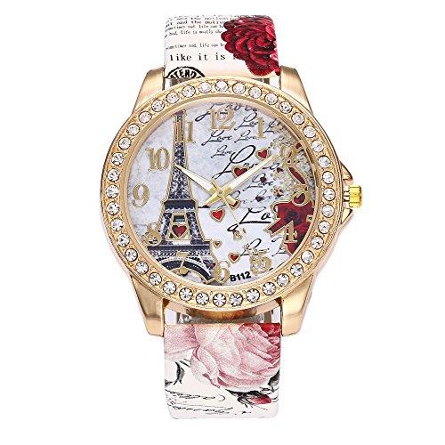 Suitray Uhren Damen, Romantische Blumen Frauen Armbanduhr Analoge Quarzuhr Beiläufig Uhr Geschenk,Runde Zifferblattgehäuse Lederband Uhren -