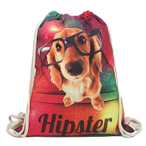 Imagen de artone hipster gafas perro gradiente poliéster lazo bolso viajar daypack deportes portable  rojo