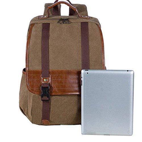 KAUKKO YP215 Canvas Rucksack Unisex Damen Herren Schultasche Reisetasche Tasche für Outdoor Sports - Dunkel Khaki
