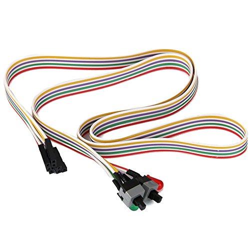 Reset Schalter Kabel - TOOGOO(R)ATX PC Computer Motherboard Netzkabel 2 Schalter Auf Mit LED Licht Ein / Aus / Reset