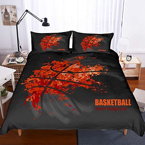 Bettwäsche-Set Sport Basketball Druck 3 Teilig Bettwäsche 100% Mikrofaser Für Zuhause Schlafzimmer Dekoration (1 Bettbezug + 2 Kissenbezüge) C-Queen(228cm*228cm) -