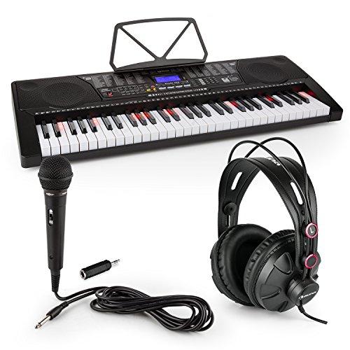 Schubert Etude 225 • Lern-Keyboard mit Notenständer + Kopfhörer + Mikrofon + Klinken-Adapter • 61 Leuchttasten • integrierte Stereolautsprecher • 50 Demo-Songs • 32 Speicherplätze • schwarz